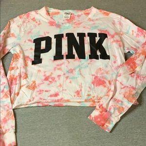 Pink Tye-Dyed Half Shirt-Sz M